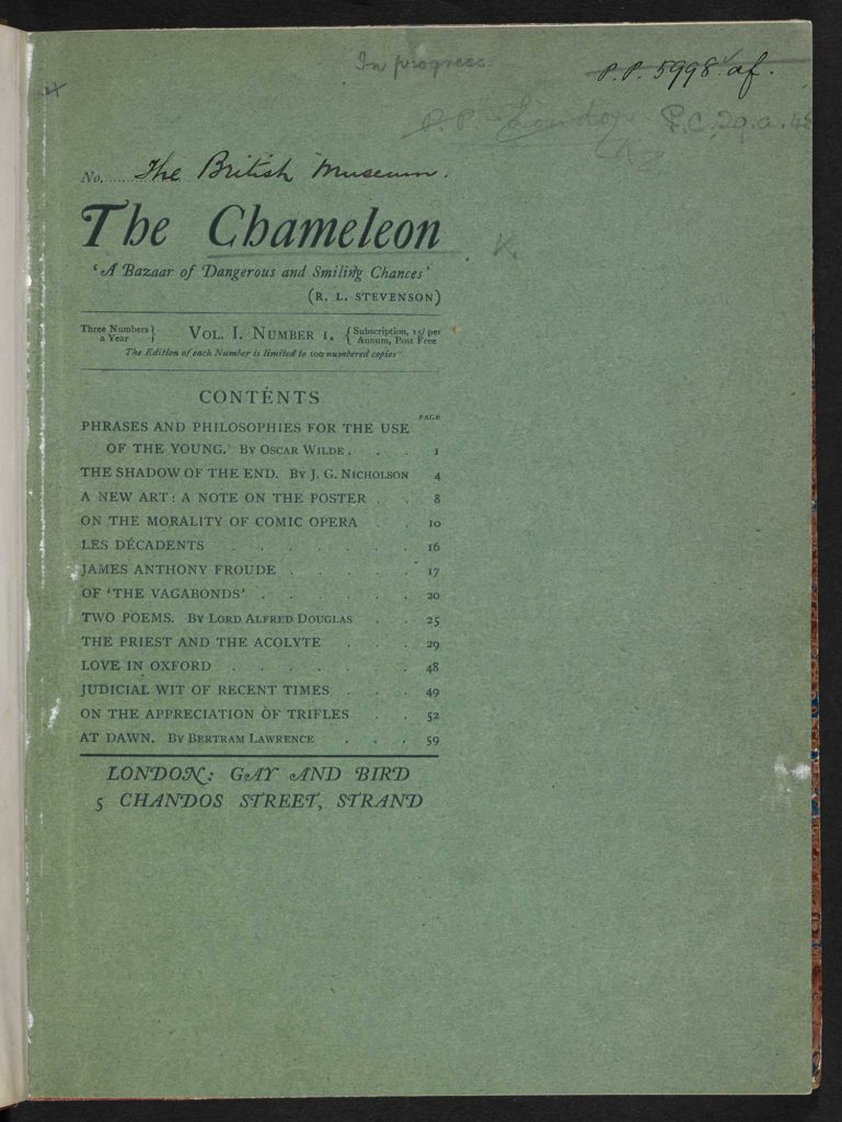 Cover of The Chameleon (1894), held at The British Library. Public domain.